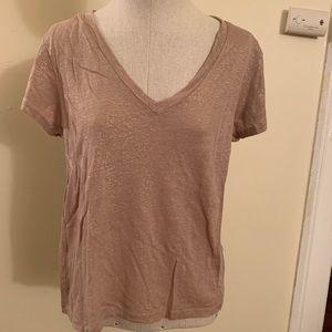 🤩Jcrew size XL 100 linen T-shirt beige w/ gold